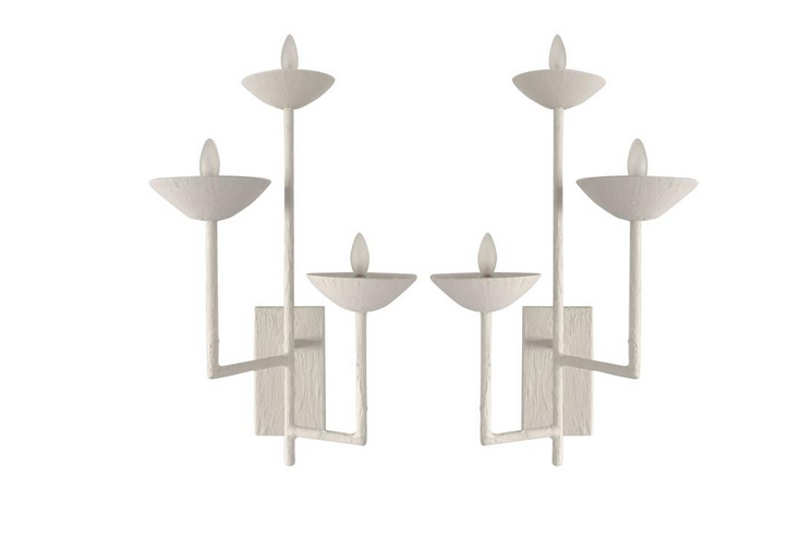 Pair of Three Armed Sconces in White Finish