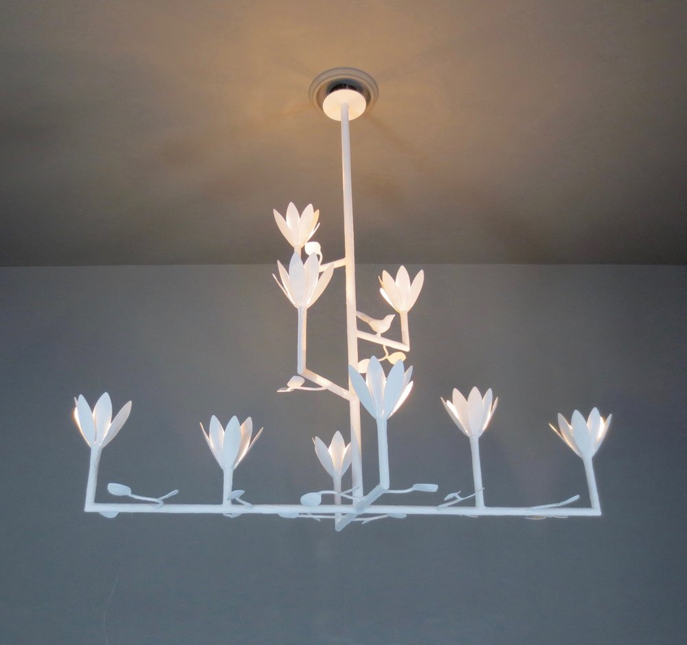 Apsara lighting a p s a r a i n t e r i o r 9 bloom cross bar chandelier with birds and leaves arubaitofo Gallery