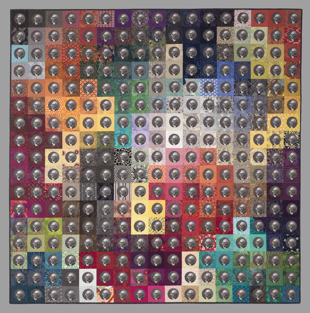 "Copyright 2012 Timna Tarr, E Pluribus Unum, cotton and wool, 63""x63"""