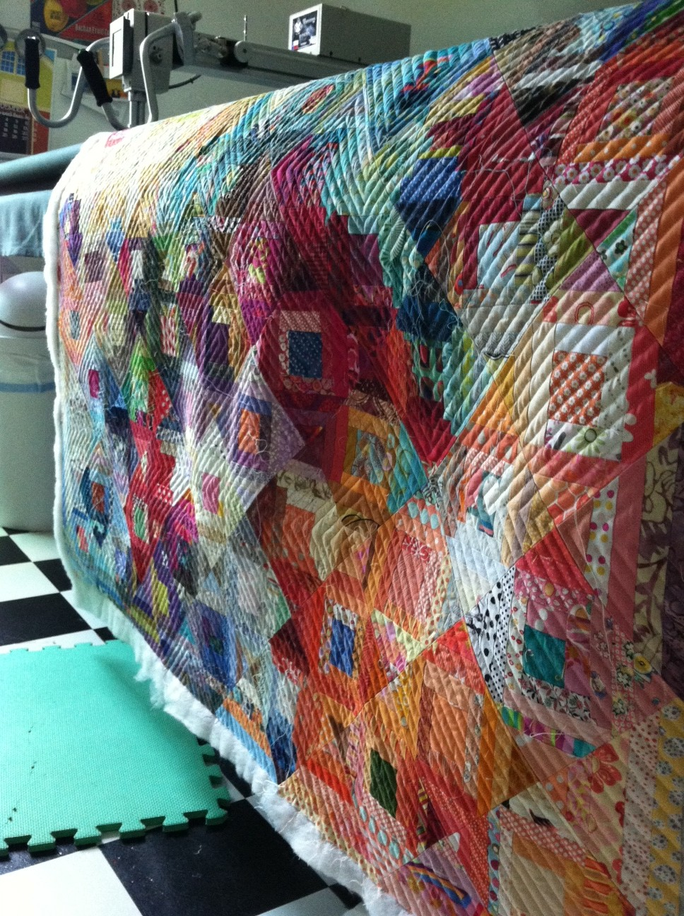 String Log Cabin Quilted