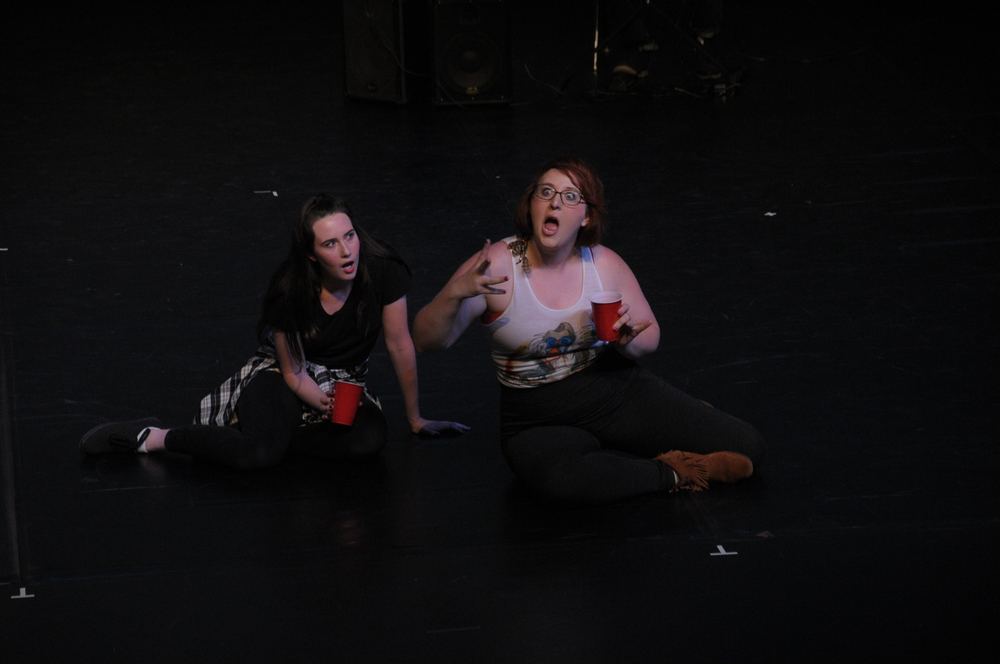 Maggie Marie Rodgers and Katie Brunberg in Dark Times at Grimesville High, 2016 Capital Fringe Festival