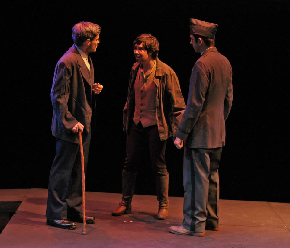 Zach Wilcox (the Doctor), Maggie Marie Rodgers (Woyzeck), and Justin Hashegan (the Captain)