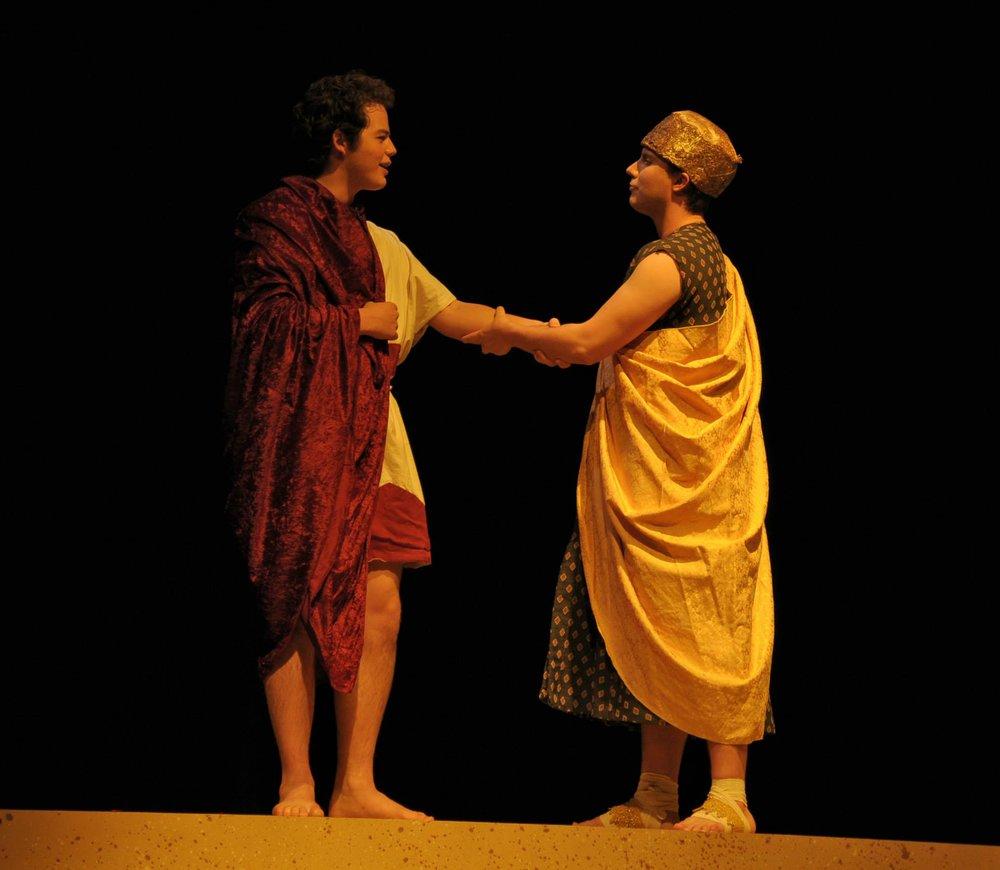 Gabe Zak (Aeneas) and Sam Taylor (Iarbas)