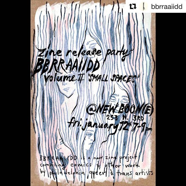 #Repost @bbrraaiidd ・・・ It's cold! But we've been working hard the past few weeks to get ready for our release party for Volume ii, 'SMALL SPACES' at @newboon3 on January 12th. We'll have issues of volume ii fresh off the press, copies of volume i, prints and other works from our artists. Free bevs, snacks, info, and friends! The party starts at 7pm at 253 n 3rd st. It'll be warmer, so celebrate the feeling in your feet with us! Rad flyer by @nothingfeelsreal . . . . #zine #philadelphiaart #phillyart #queerart #transartists #handdrawn #diyzine #comix #queercomics