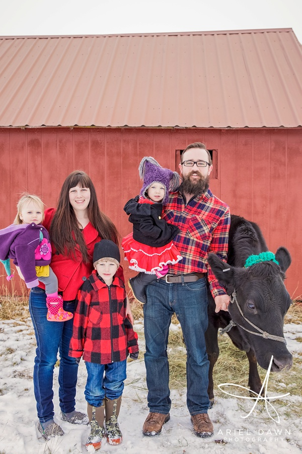 Family Photographer Great Falls, MT Red Barn and Cow