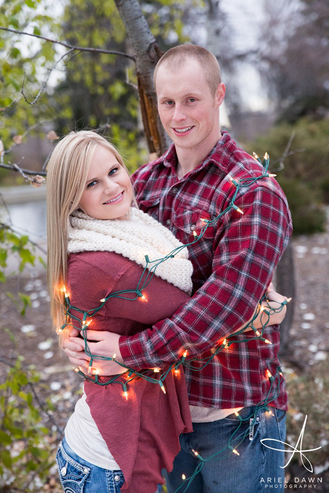 Christmas lights wrapped around you for a christmas photo? How fun!