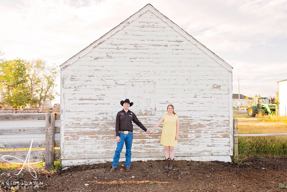 Cute Farm Engagement shoot with cowboy and cowgirl | Great Falls, Montana | Ariel Dawn Photography | www.arieldawnphotography.com | Engagement Photographer