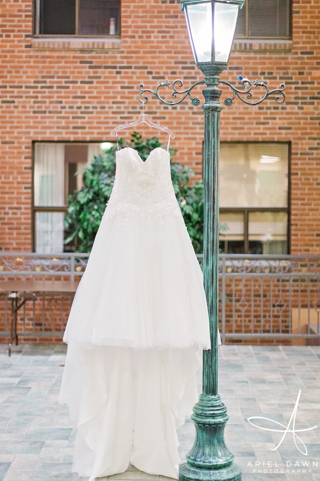 Wedding Dress Hanging From Lightpole | Great Falls, Montana | Ariel Dawn Photography | www.arieldawnphotography.com