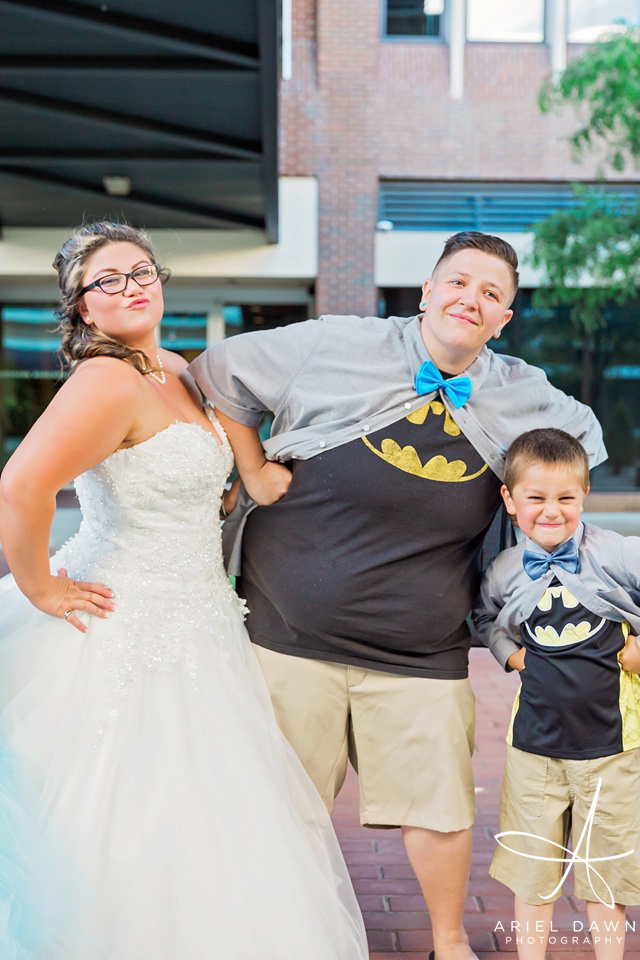 Bride loves batman | Great Falls, Montana | Ariel Dawn Photography | www.arieldawnphotography.com | Wedding Photographer