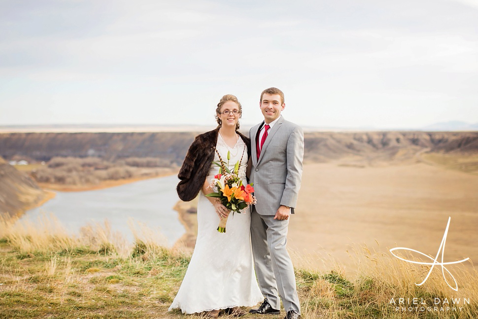 Fort Benton has the most amazing scenery to capture bride and groom photos.