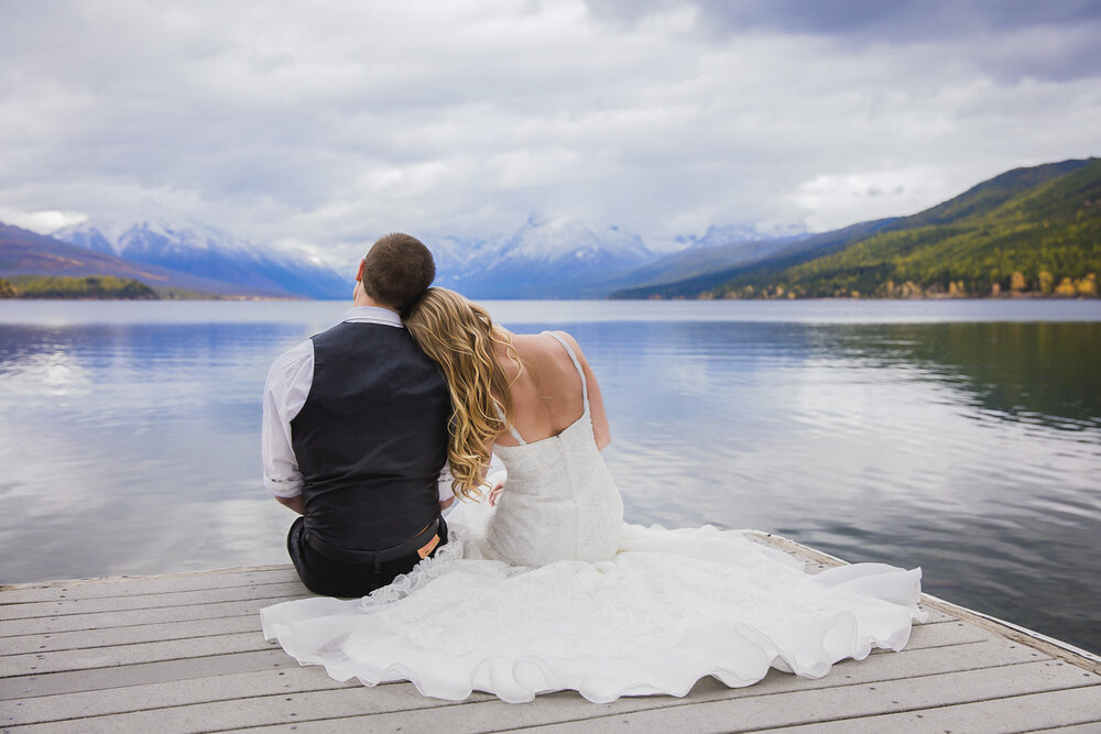 Lake wedding in Glacier Montana