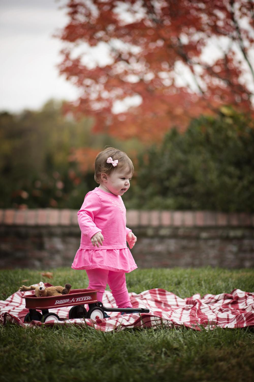 Girl with Mini Radio Flyer Wagon Fall Portrait photographer Kate Montaner Photography