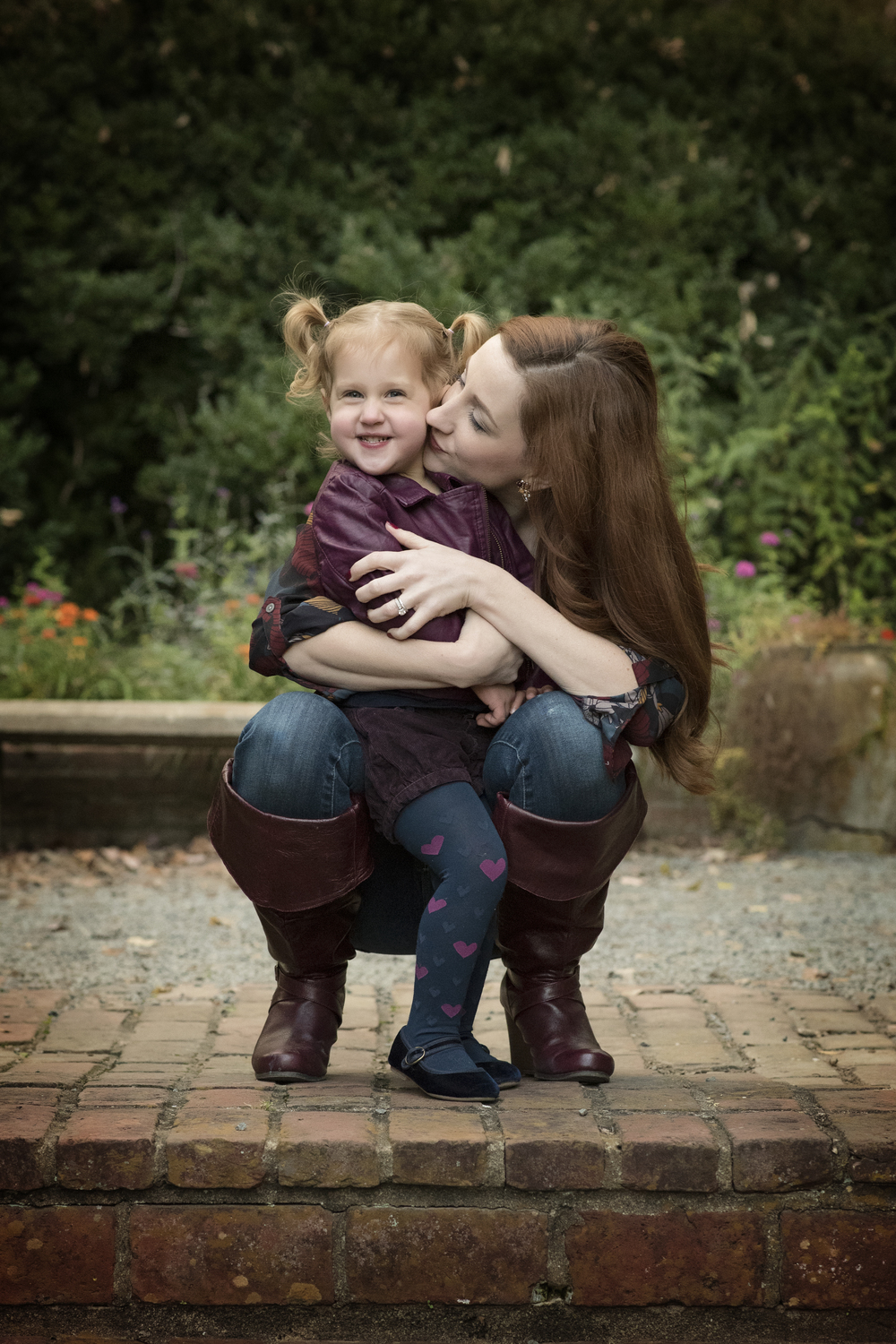 Mother and Daughter on brick steps Fine Art Portraiture Kate Montaner Photography