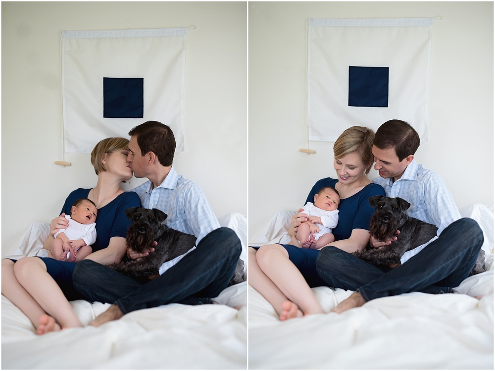 Newborn-Photographer-Kate-Montaner-Photograhy-dad-and-mom-on-bed-with-dog-maritime-signal-flag (1).jpg