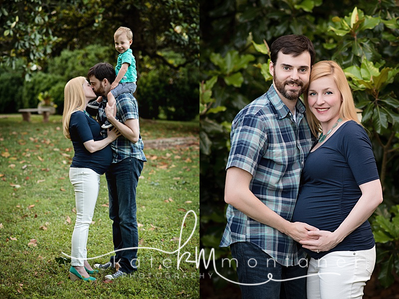 maternity-couple-in-navy-and-turquoise-with-little-boy-magnolia-tree-kate-montaner-photography