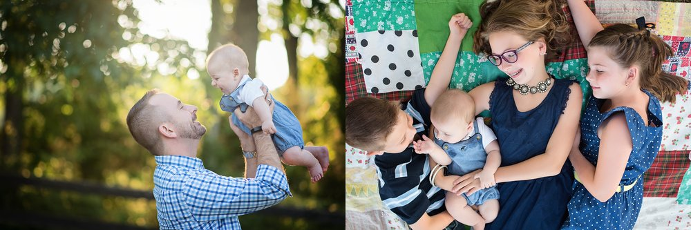 siblings-and-baby-on-patchwork-quilt-dad-and-baby-summer-light-kate-montaner-childrens-photographer-nova