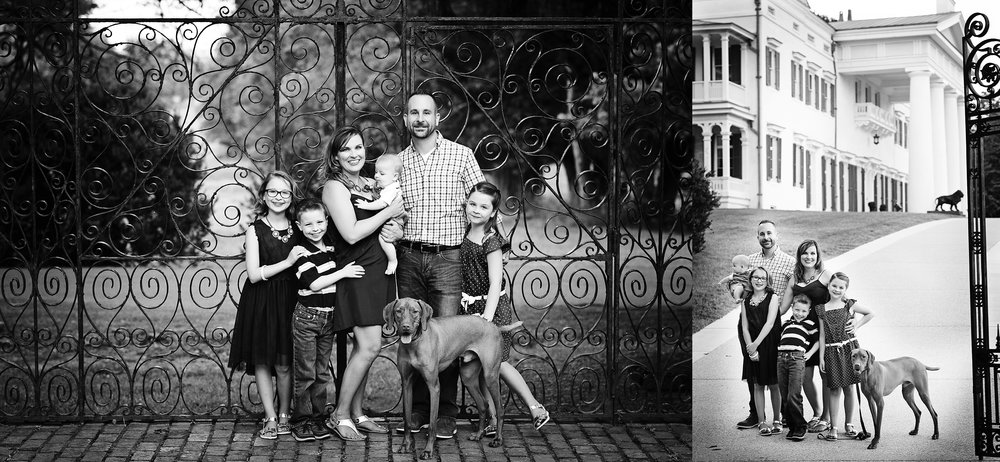 black-and-white-irron-gate-family-kids-vizsla-portrait-photography-kate-montaner-morven-park-leesburg-virginia