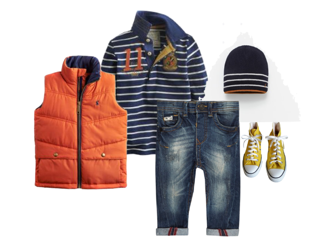 Continuing with the navy/mustard theme, here we can have some fun and add a pop of color with burnt orange in the vest, hat and shirt. The mustard converse are super fun and playful and tie in mom's blazer. and really, what shoe could be more timeless than something James Dean wore?