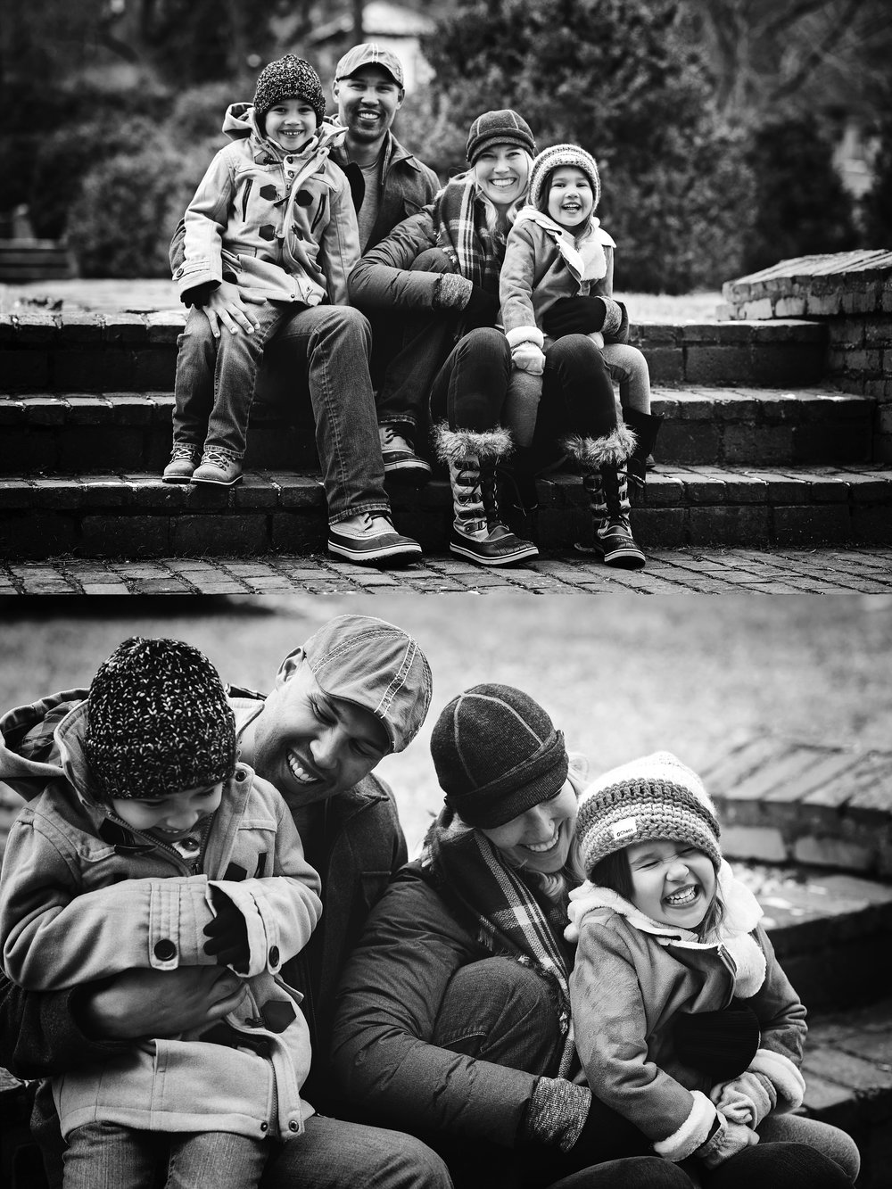 black-and-white-photography-beautiful-laughing-family-winter-session-kate-montaner-photography