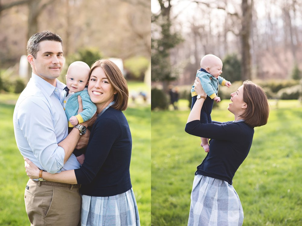 Spring-blossom-parents-kiss-baby-navy-gingham-gray-blue-yellow-family-and-children-session-northern-virginia-premium-portrait-photographer-kate-montaner-photography
