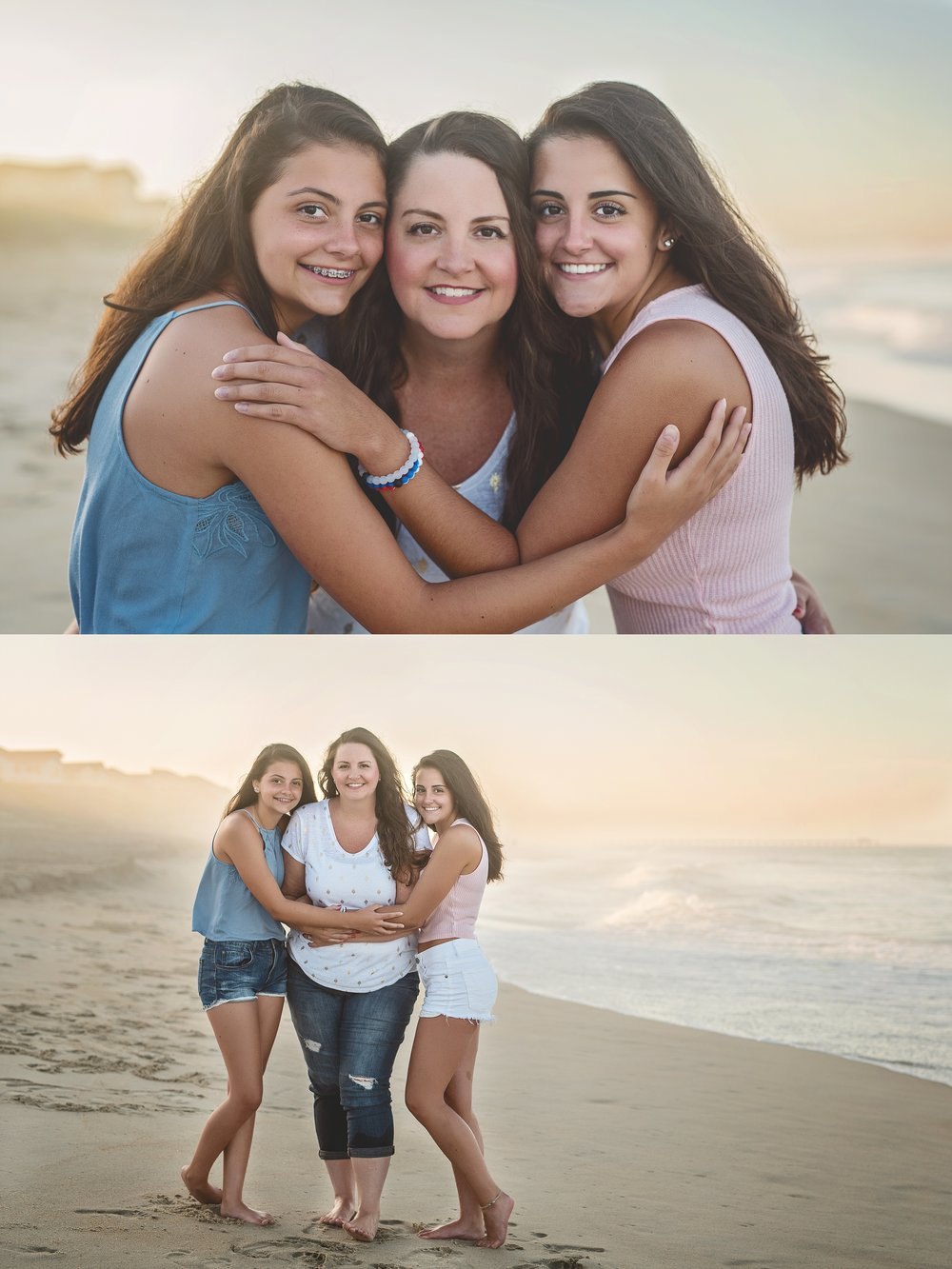 beach-family-photography-sisters-mother-daughter-pink-and-blue-and-white-outerbanks-kate-montaner-photography-northern-virginia-family-photographer
