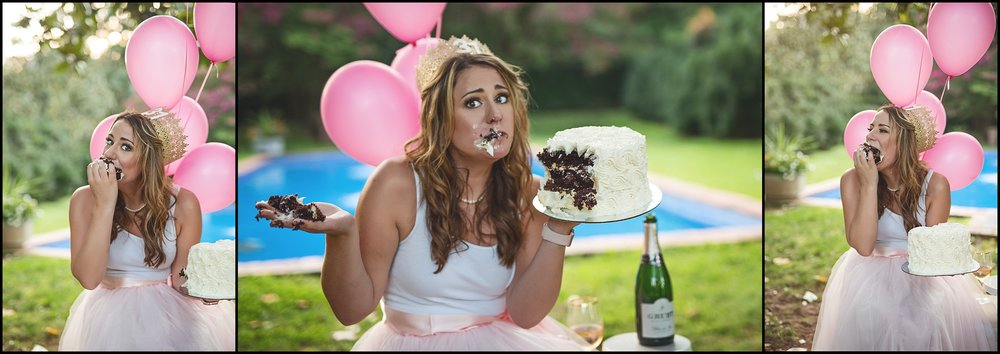 Birthday Cake Smash Adult Blush and Gold Champagne Kate Montaner Photography