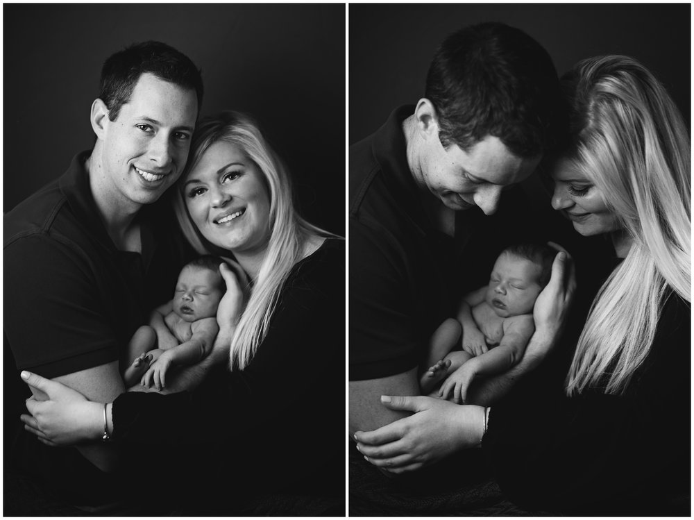 Mom and Dad with Newborn Baby Girl Black and White Newborn Photography Kate Montaner Photograhy Ashburn Virginia (3).jpg