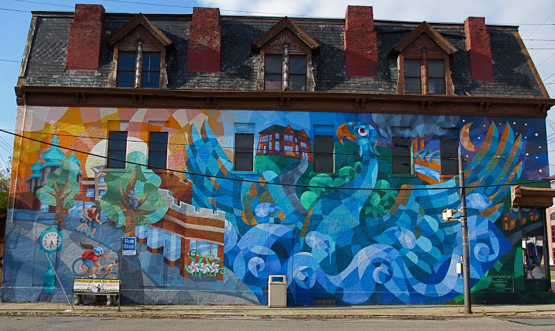One of Valley's public art projects in Carnegie, titled Rebirth. Photo Courtesy of Pgh Murals.