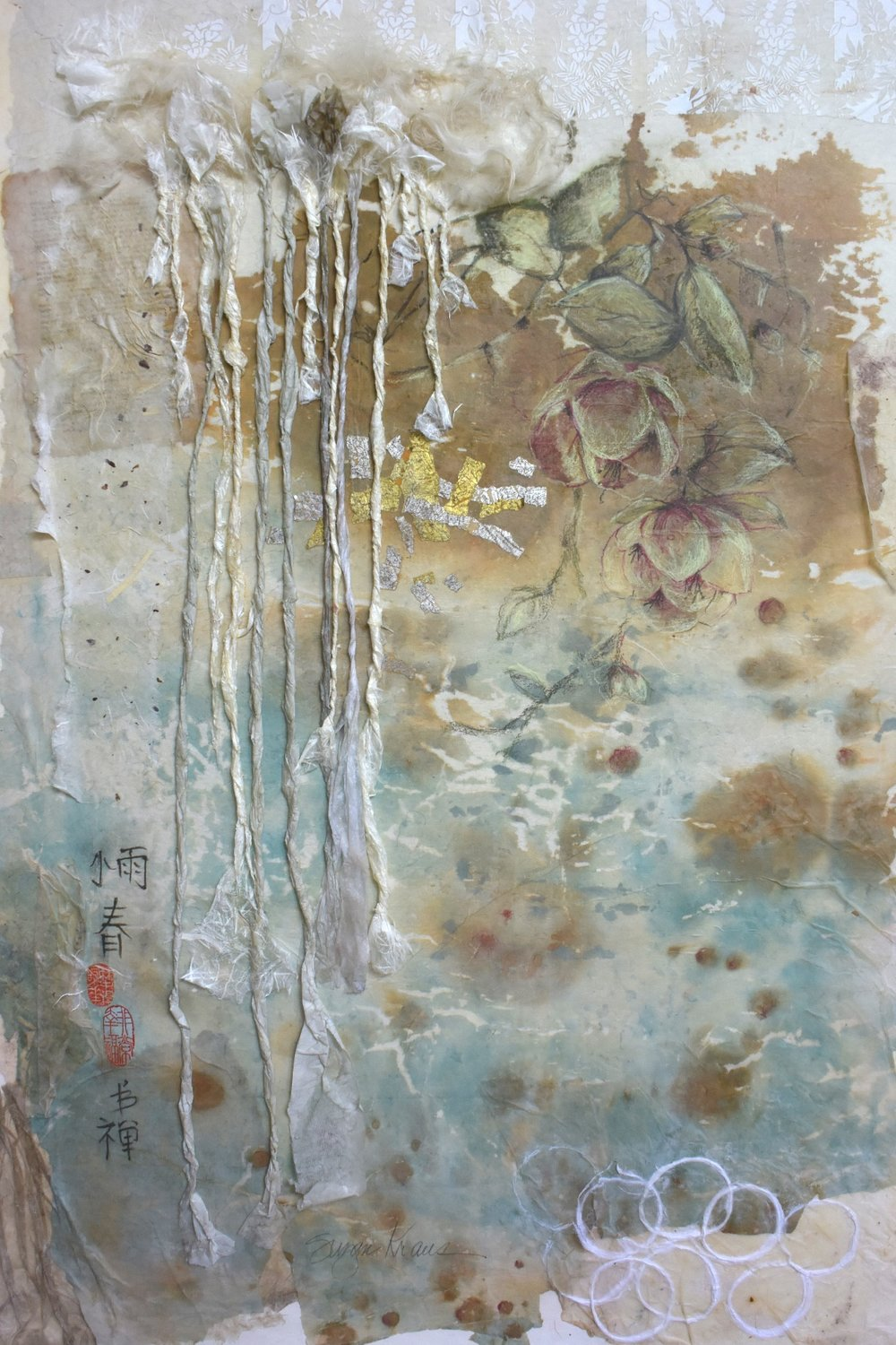 Light Rain, Early Spring;  collage/mixed media by Suzan Kraus
