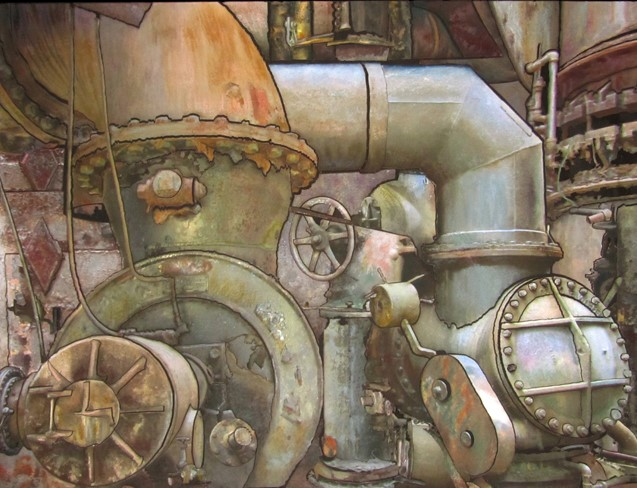 Carrie Furnace 2 , mixed media by June Edwards