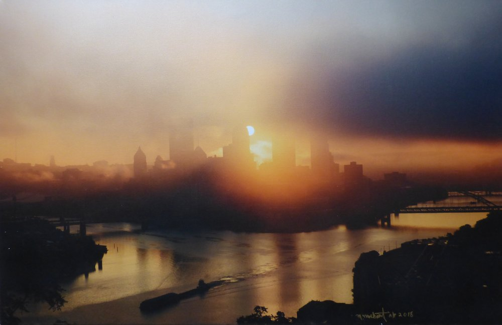 Golden Sunrise with Barge , Morry Moskovitz
