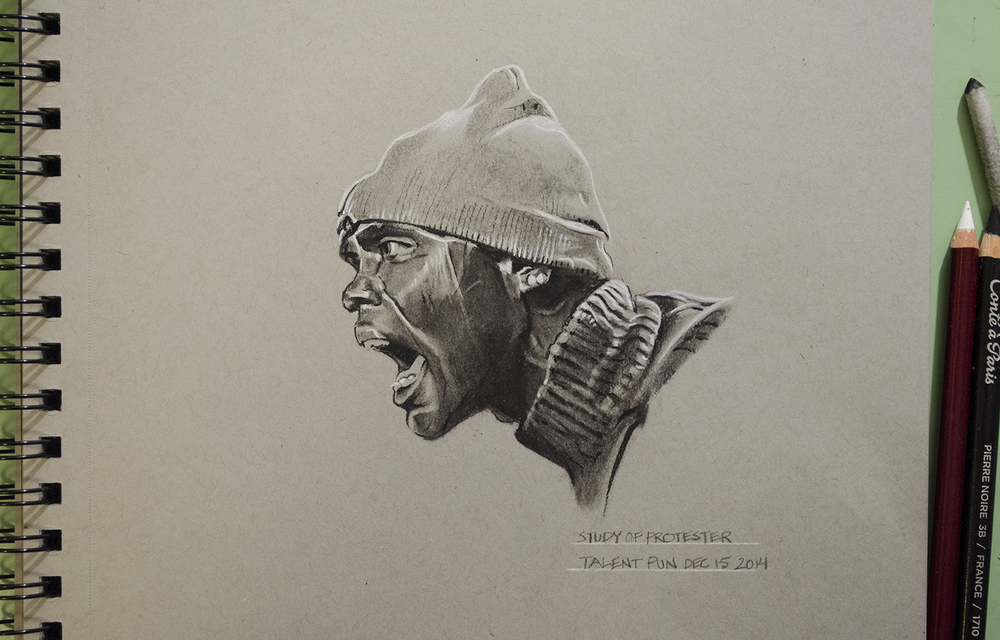 "Study of Protestor,   6"" x 5"",   conté pencil   on toned paper."