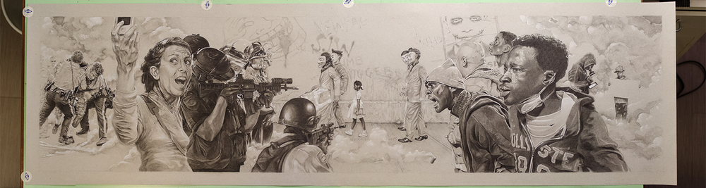 The Problem We All Live With II, 48  ″ x 12″, Conté pencil on toned paper.