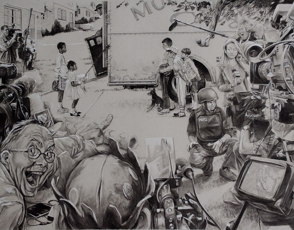 "New Kids vs Roadblock,  Conté pencil on toned paper, 22"" x 17""."