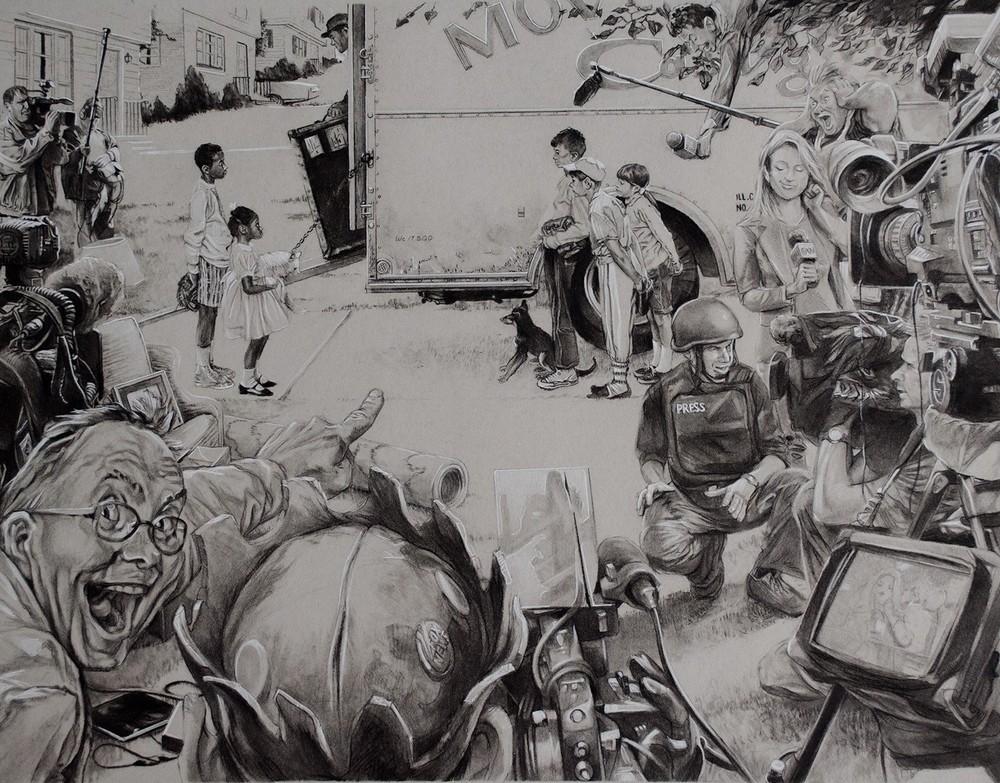 """New Kids vs Roadblock,  Conté pencilon toned paper, 22"""" x 17""""."""