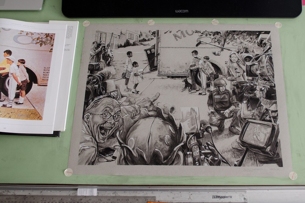 Original drawing, just chilling on the old drawing table.