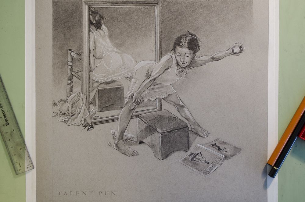 "Girl at Mirror II, c onté pencil on toned paper, 12"" x 12""."