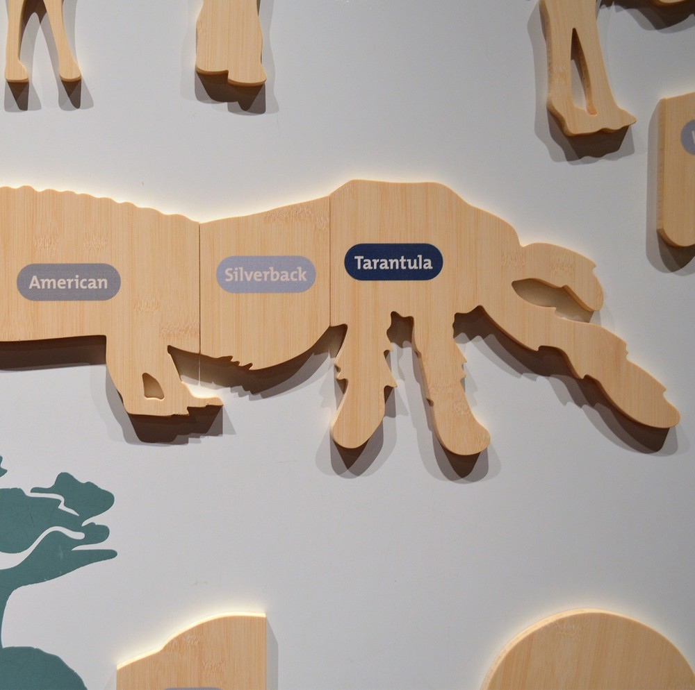 Magnet puzzle that allows visitors to mix-and-match animals.
