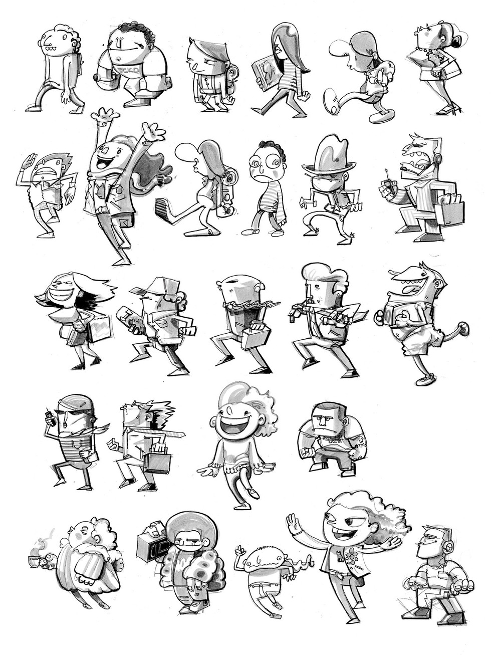 Character sketches for the Transportation Exhibit.
