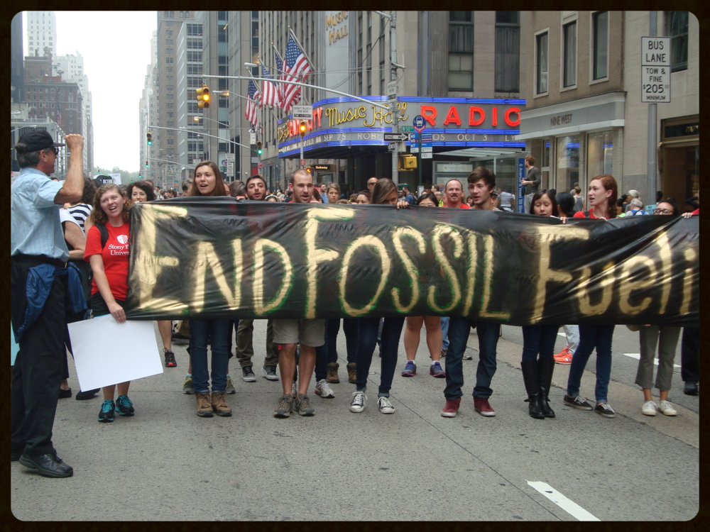 Stony Brook University Sustainability Studies Program students and staff march on September 21, 2014, at the People's Climate March in New York City.