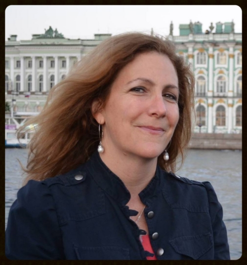 """Hutner in St. Petersburg, Russia, where she gave a presentation on """"Maternal Anti-Nuclear History"""" (Summer 2012)."""