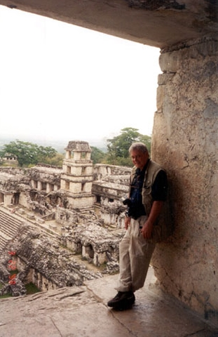 Palenque From the Temple of the Inscriptions, looking toward the Palace. Self Portrait by Tony Paterson.