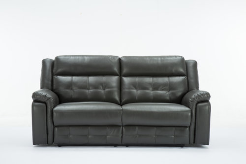 Malvern 3 Seater Leather Recliner Sofa Grey Furniture Carpet And