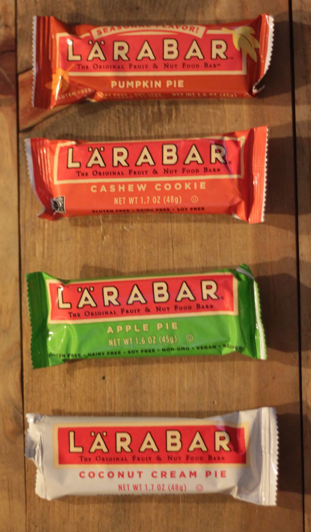 Larabars I found that are Whole30 compliant. Again, we don't eat these very often but they are a nice fallback.