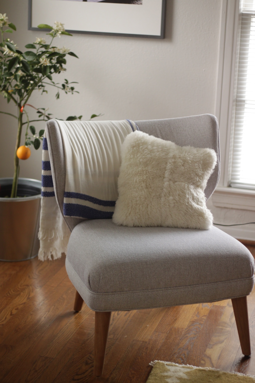 Throw: anthropologie ;Pillow:Crate&Barrel; Chair:West Elm;Planter:IKEA; Meyer lemon tree:Costco