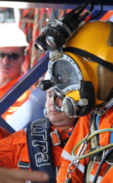 An air diver preparing to dive,  DOF Subsea.