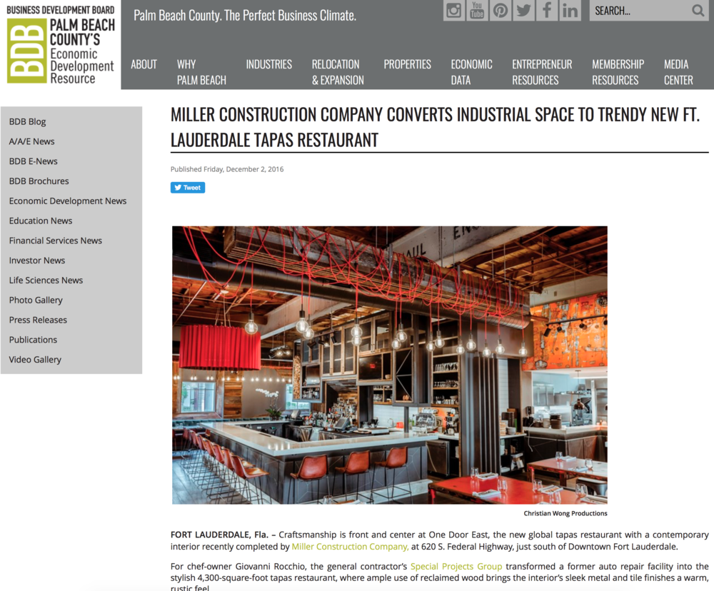 Business Development Board - MILLER CONSTRUCTION COMPANY CONVERTS INDUSTRIAL SPACE TO TRENDY NEW FT. LAUDERDALE TAPAS RESTAURANT