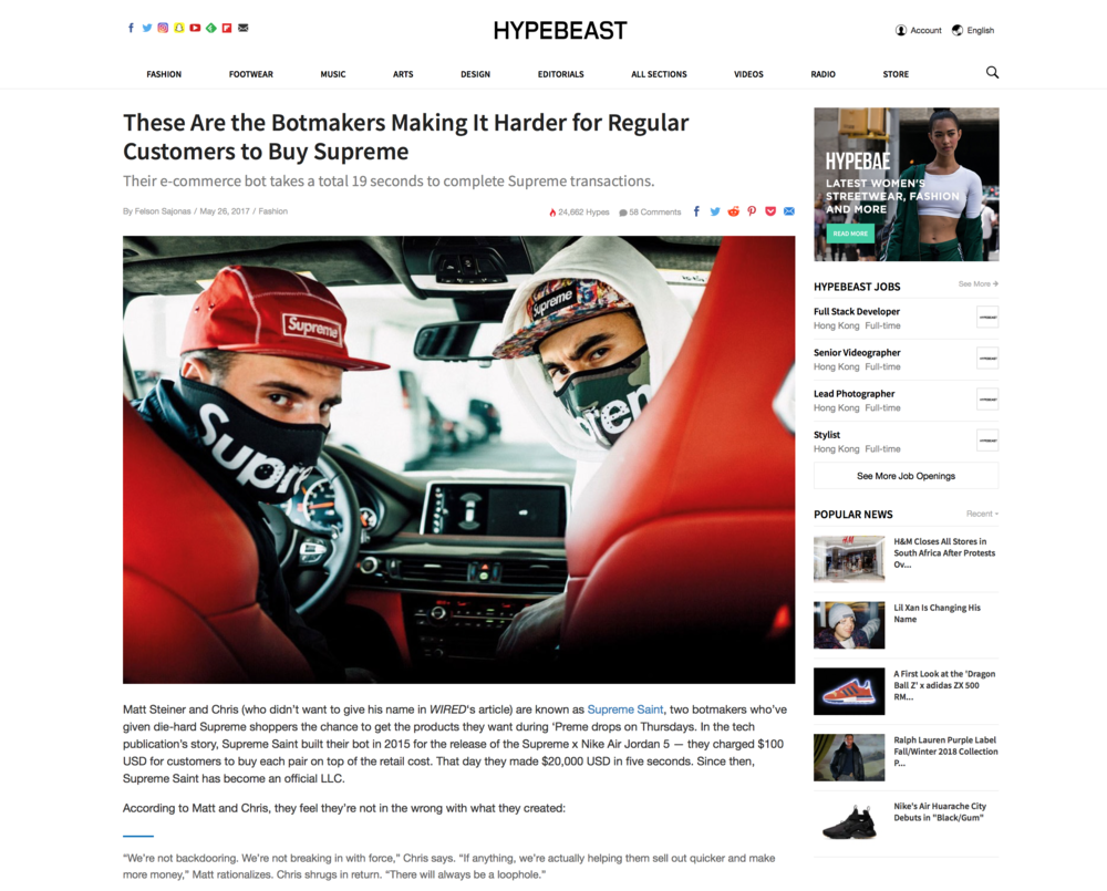 These Are the Botmakers Making It Harder for Regular Customers to Buy Supreme - Hypebeast