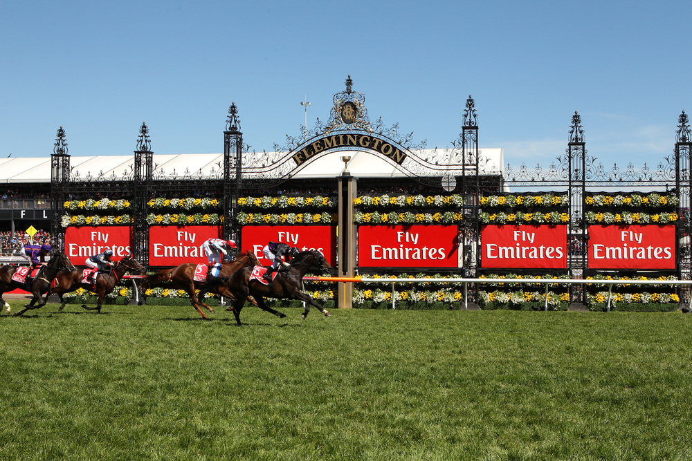 Flemington Melb Cup Day 2013 winning post.jpg