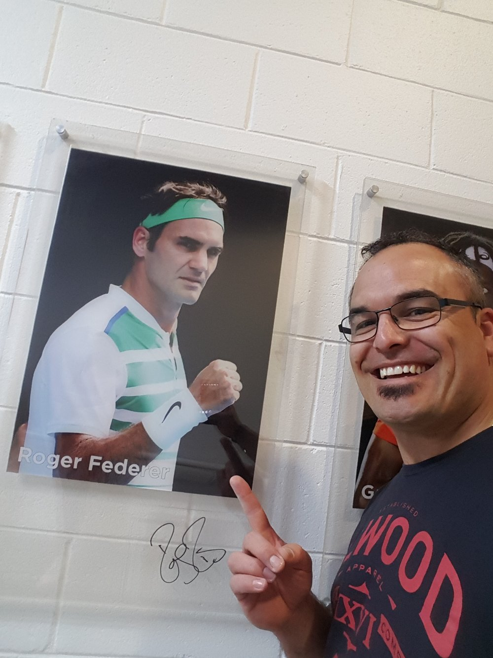 Trent was happy to catch up with Roger Federer under Rod Laver Arena in the Walk of Fame